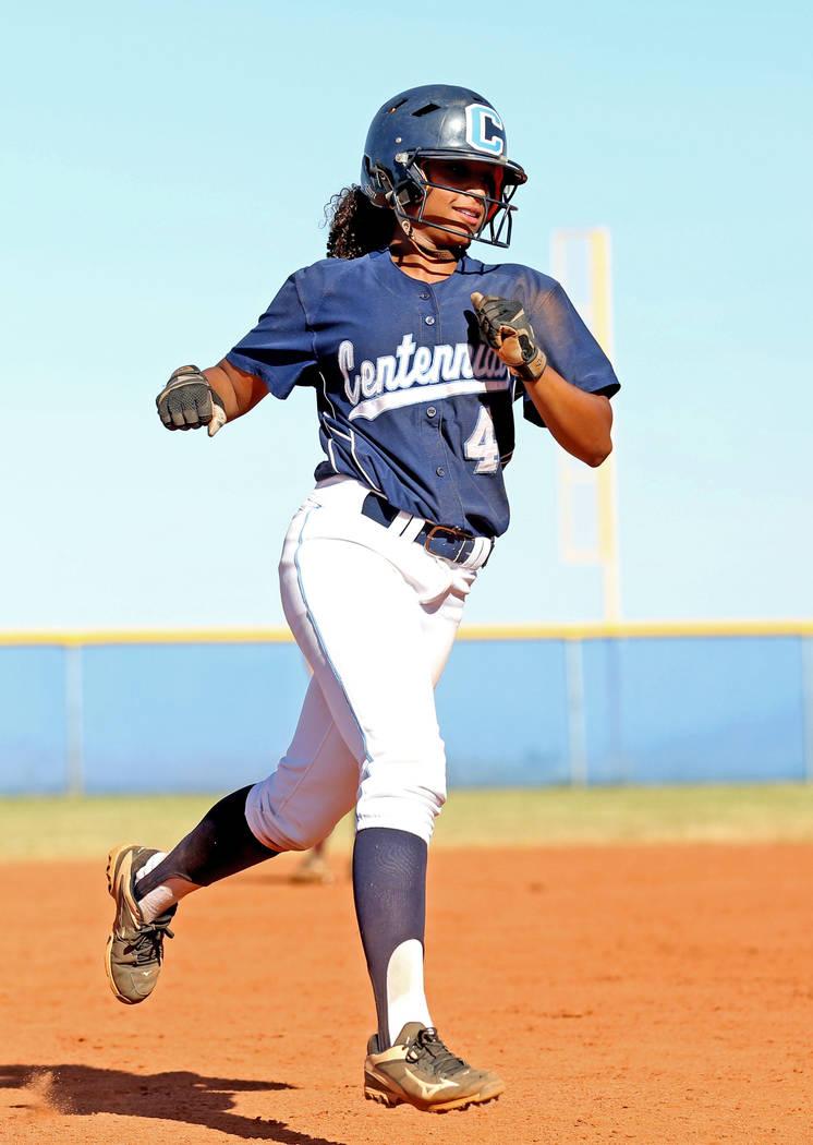 Centennial's Kiana Tate makes a run after hitting a home run in the fourth inning against Faith Lutheran at Centennial High School in Las Vegas, Wednesday, May 3, 2017. Elizabeth Brumley Las Vegas ...
