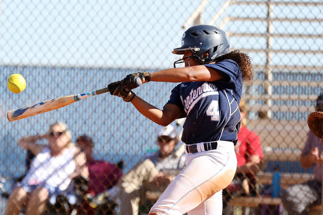 Centennial's Kiana Tate hits a home run in the fourth inning against Faith Lutheran at Centennial High School in Las Vegas, Wednesday, May 3, 2017. Elizabeth Brumley Las Vegas Review-Journal @EliP ...