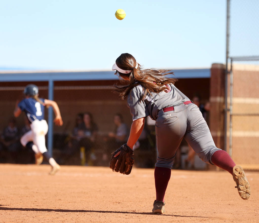 Faith Lutheran's Audrey Kirsch (3) throws to first base to successfully get  Centennial's Skyler Ball (1) out during the fourth inning against Centennial at Centennial High School in Las Vegas, We ...