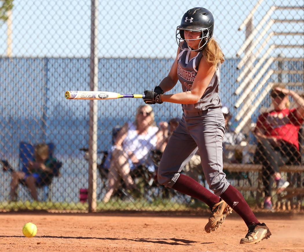 Faith Lutheran's Ellie Fried bunts the ball during the fourth inning against Centennial at Centennial High School in Las Vegas, Wednesday, May 3, 2017. Elizabeth Brumley Las Vegas Review-Journal @ ...