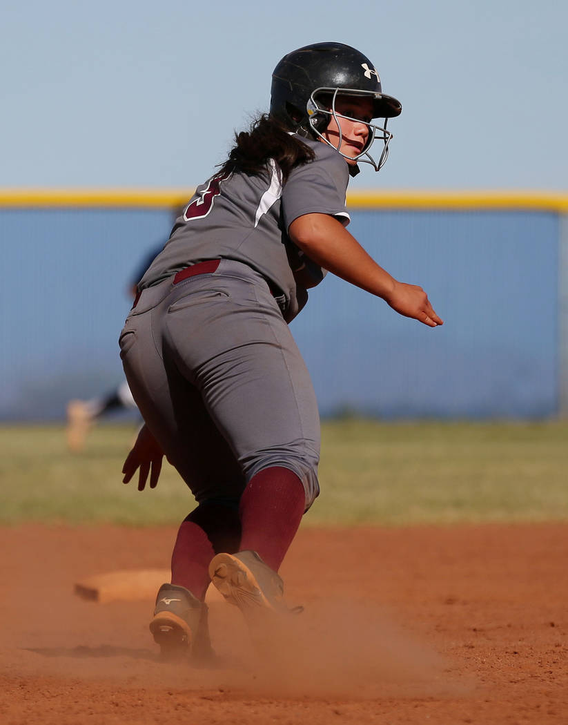Faith Lutheran's Audrey Kirsch returns to second base after an attempted steal during the fourth inning against Centennial at Centennial High School in Las Vegas, Wednesday, May 3, 2017. Elizabeth ...