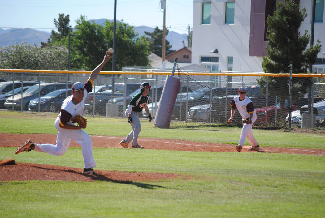 Pahrump Valley starter Garrett Lucas delivers a pitch against Mojave at Pahrump Valley High School, Thursday, May 4, 2017. The Trojans won 5-2 to claim the Class 3A Sunset League title. (Charlotte ...