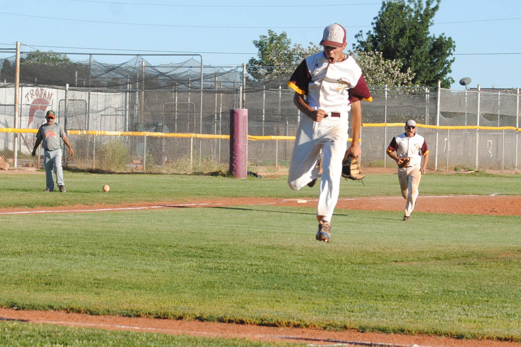 Pahrump Valley's Josh Ferrer celebrates after recording the final out against Mojave at Pahrump Valley High School, Thursday, May 4, 2017. The Trojans won 5-2 to claim the Class 3A Sunset League t ...