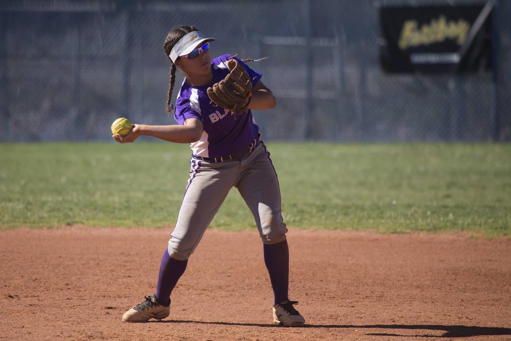Durango's Destiny Cisneros (13) turns for a throw to second base for an out against Sierra Vista at Sierra Vista High School on Thursday, May 4, 2017, in Las Vegas. Sierra Vista won 8-1. Erik Verd ...