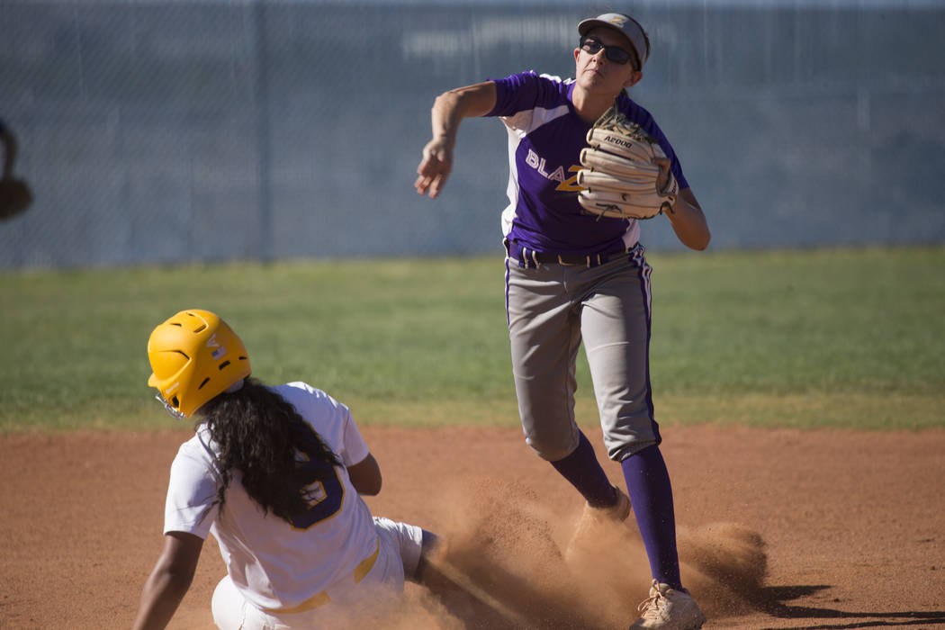 Durango's Kaitlin Fazendin (33) throws late to first base after getting an out against Sierra Vista's Kalei Watkins (8) at second base at Sierra Vista High School on Thursday, May 4, 2017, in Las  ...