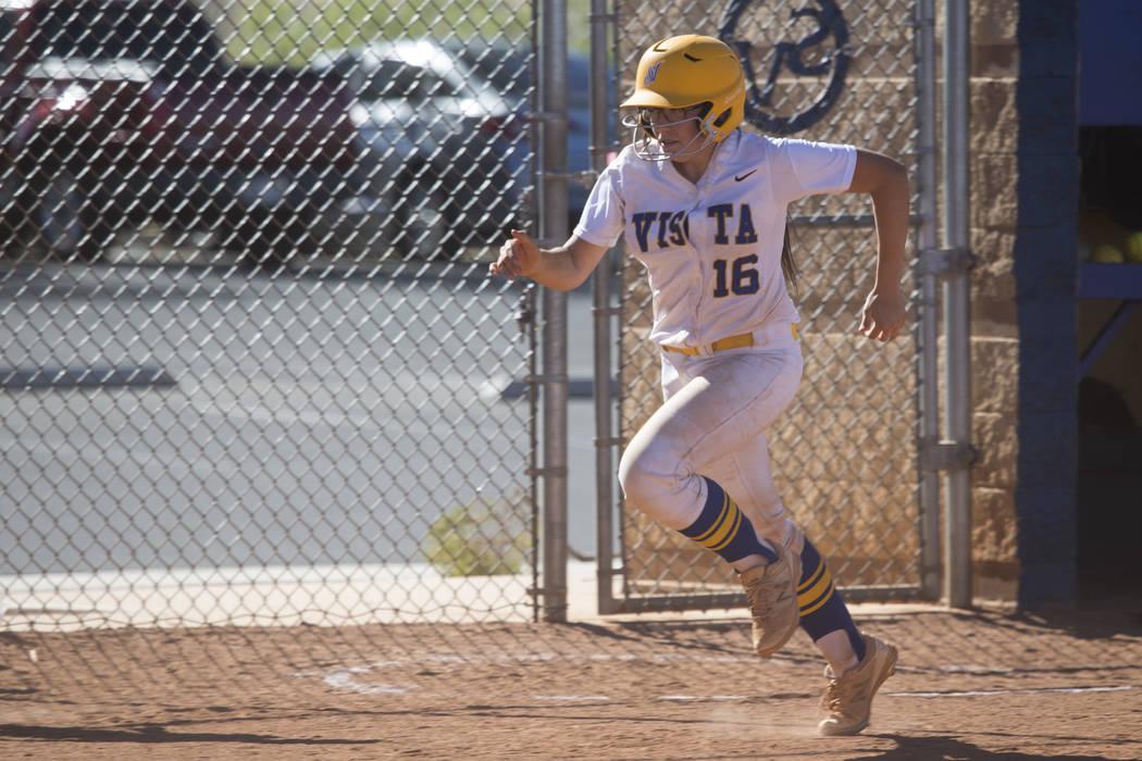 Sierra Vista's Aaliyah Medina (16) runs home for a score against Durango at Sierra Vista High School on Thursday, May 4, 2017, in Las Vegas. Sierra Vista won 8-1. Erik Verduzco Las Vegas Review-Jo ...