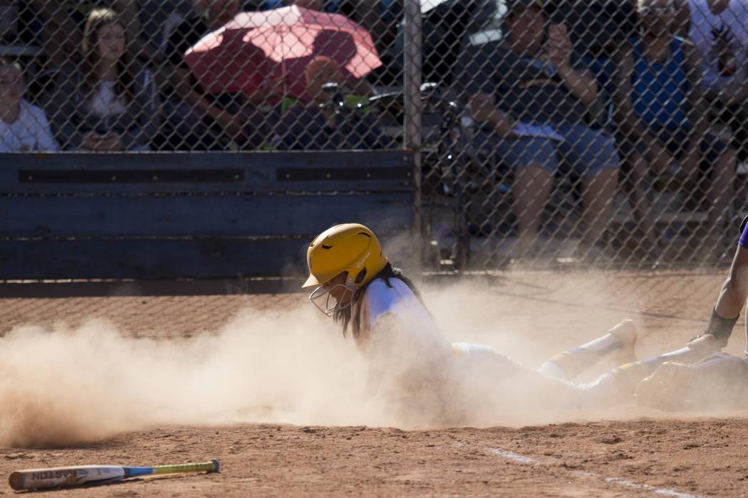 Sierra Vista's Andrea Barajas (9) slides home for a score against Durango at Sierra Vista High School on Thursday, May 4, 2017, in Las Vegas. Sierra Vista won 8-1. Erik Verduzco Las Vegas Review-J ...