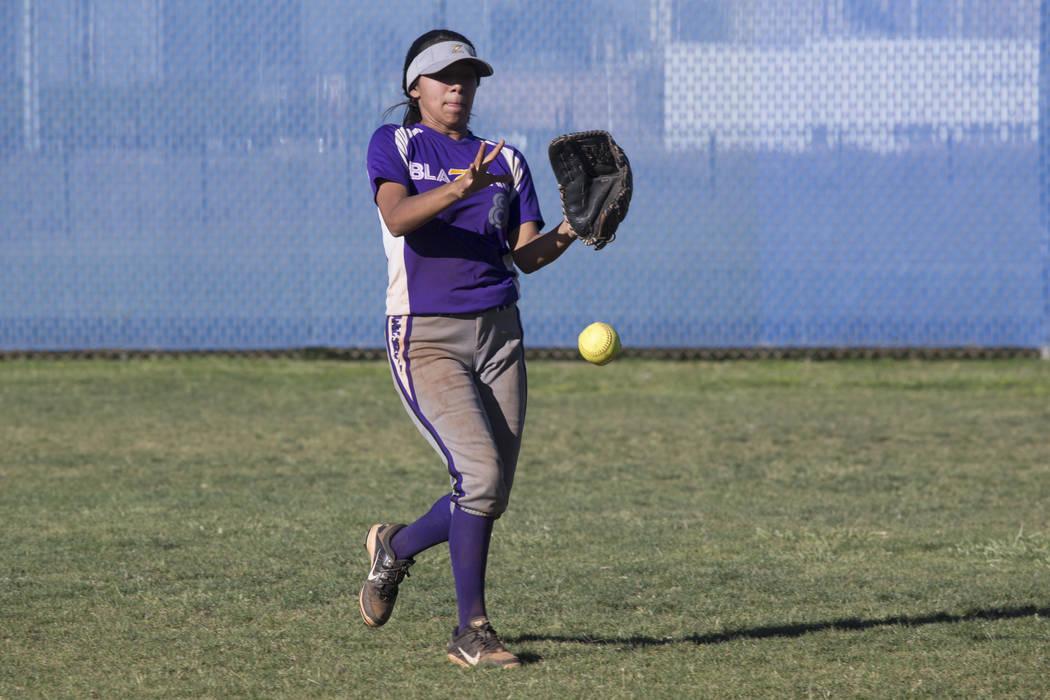 Durango's Savannah Delgadillo (8) chases the ball in the outfield against Sierra Vista at Sierra Vista High School on Thursday, May 4, 2017, in Las Vegas. Sierra Vista won 8-1. Erik Verduzco Las V ...