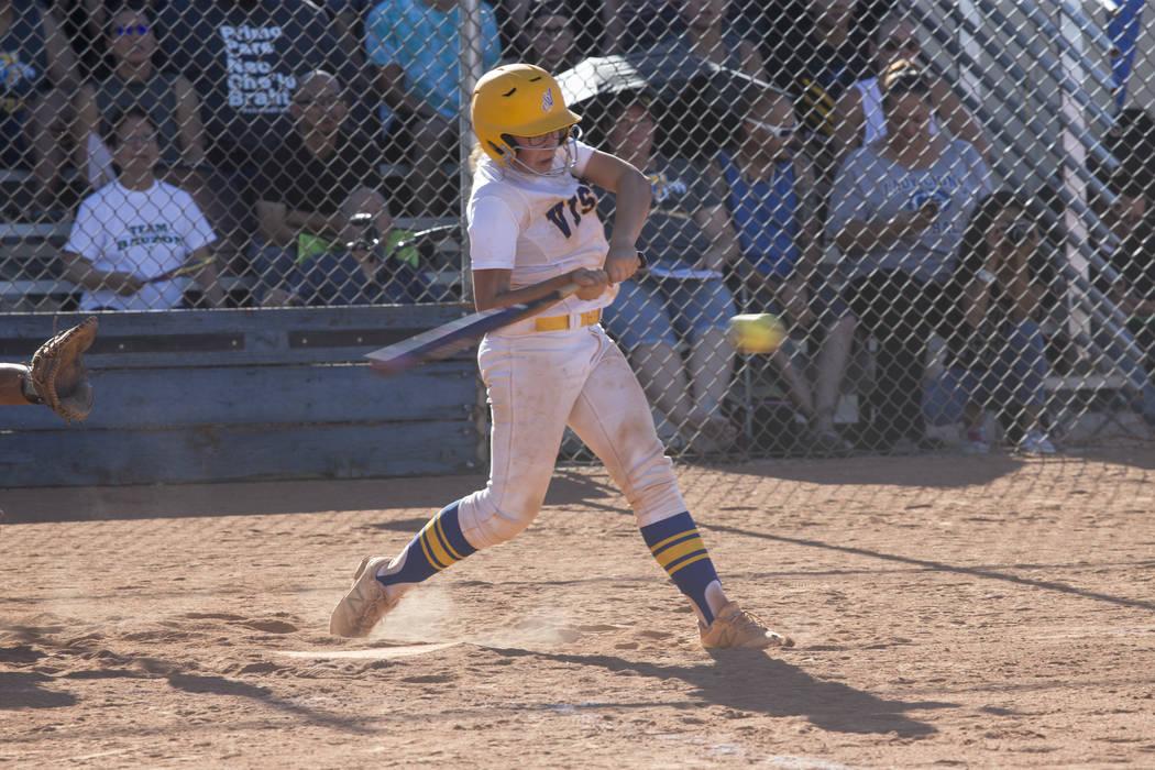 Sierra Vista's Aaliyah Medina (16) swings for a double against Durango at Sierra Vista High School on Thursday, May 4, 2017, in Las Vegas. Sierra Vista won 8-1. Erik Verduzco Las Vegas Review-Jour ...