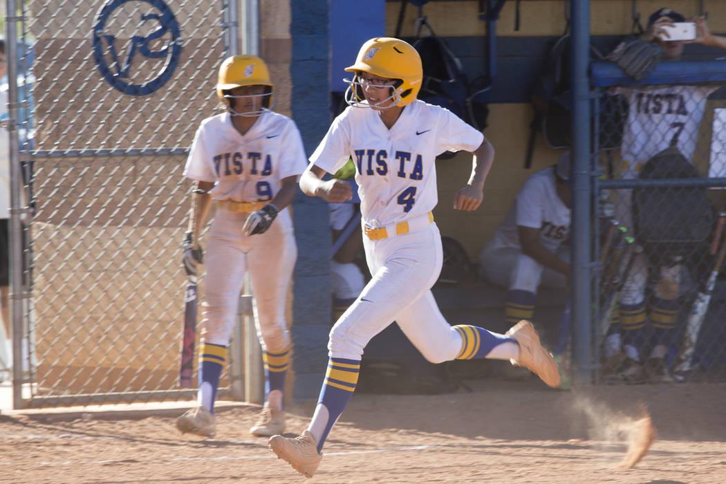 Sierra Vista's Taylor DeGuzman (4) runs home for a score against Durango at Sierra Vista High School on Thursday, May 4, 2017, in Las Vegas. Sierra Vista won 8-1. Erik Verduzco Las Vegas Review-Jo ...