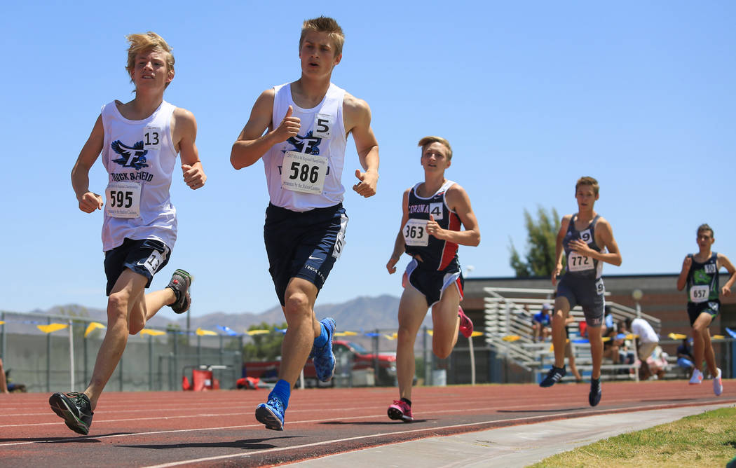 Runners compete in a boy's 1600 meter heat during the 4A Sunset and Sunrise region track meet at Foothill High School in Henderson on Saturday, May 6, 2017. Brett Le Blanc Las Vegas Review-Journal ...