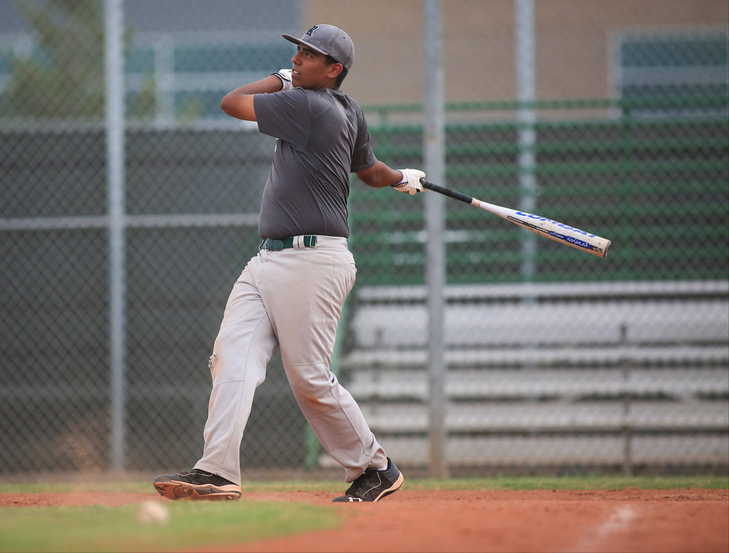 Jimmy Gamboa takes swings during batting practice at Rancho High School on Friday, May 5, 2017, in Las Vegas. Brett Le Blanc Las Vegas Review-Journal @bleblancphoto
