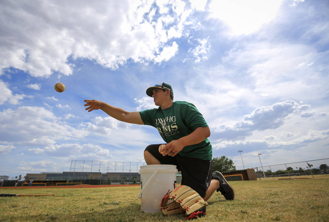 Rancho head coach Manny Llamas works with catchers during practice at Rancho High School on Friday, May 5, 2017, in Las Vegas. Brett Le Blanc Las Vegas Review-Journal @bleblancphoto