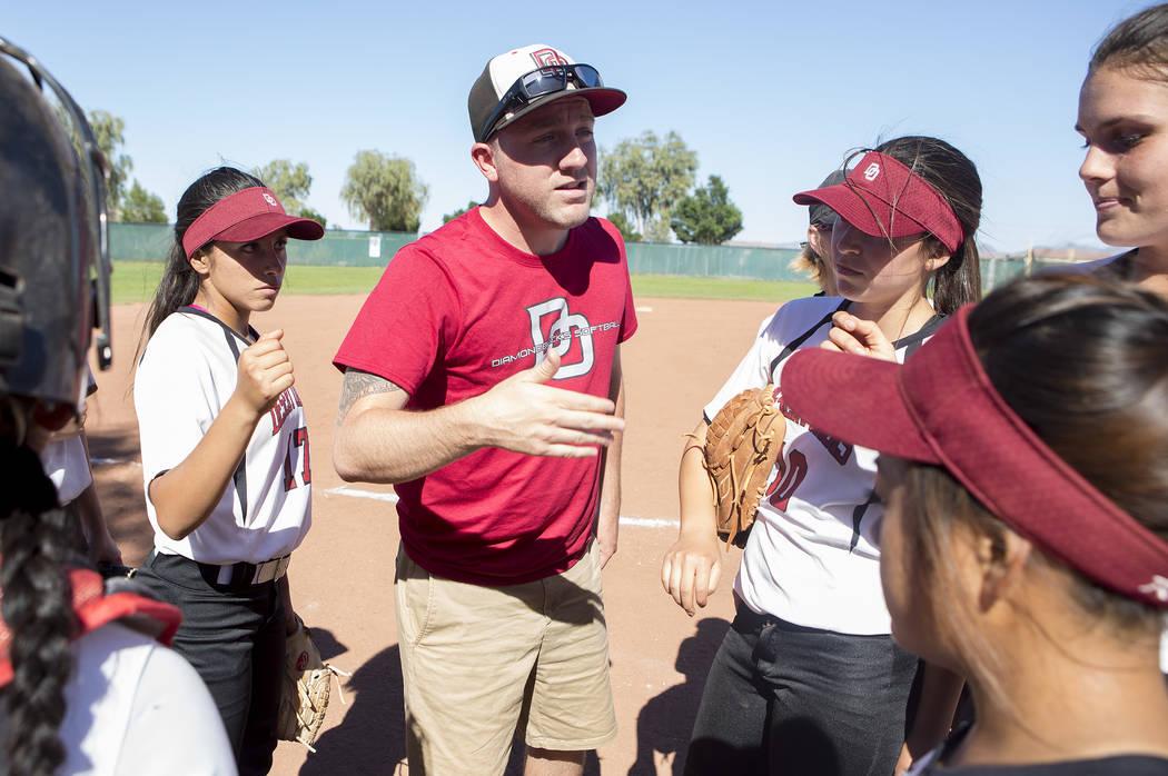 Desert Oasis head coach Jordan Connell speaks to the team between innings during a game against Bonanza at Desert Oasis High School on Thursday, May 4, 2017, in Las Vegas. Bridget Bennett Las Vega ...