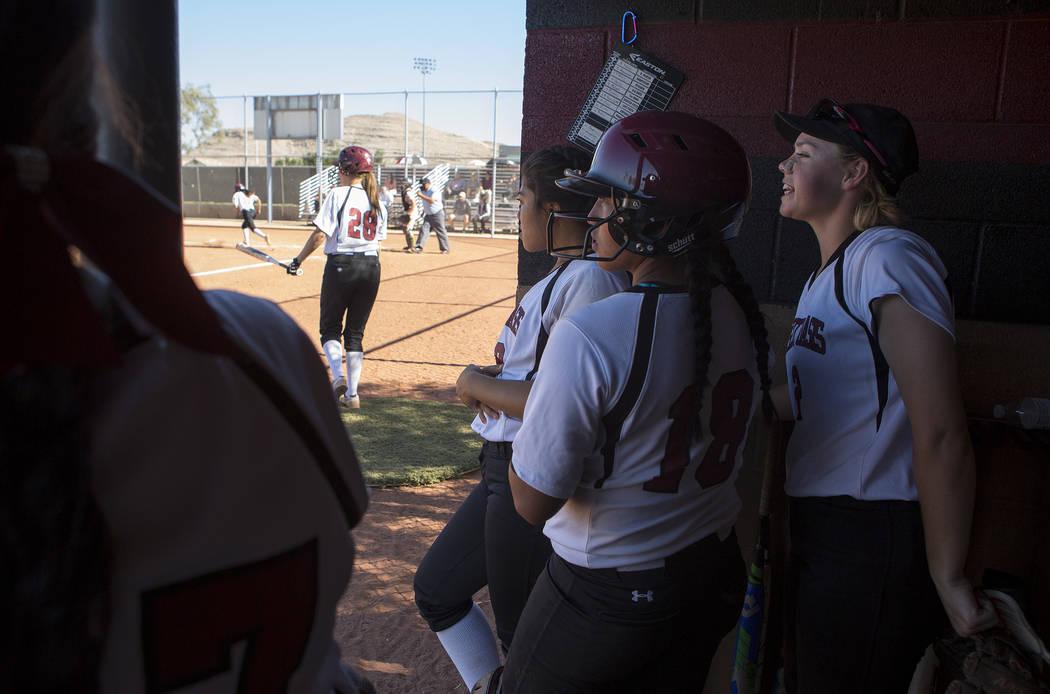 Desert Oasis cheers on their teammates during a game against Bonanza at Desert Oasis High School on Thursday, May 4, 2017, in Las Vegas. Bridget Bennett Las Vegas Review-Journal @bridgetkbennett