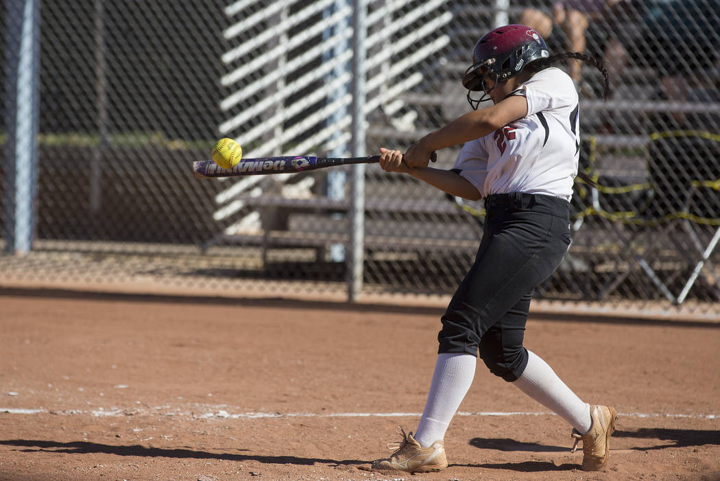 Desert Oasis sophomore Jada Moreno (22) hits the ball during a game against Bonanza at Desert Oasis High School on Thursday, May 4, 2017, in Las Vegas. Bridget Bennett Las Vegas Review-Journal @br ...