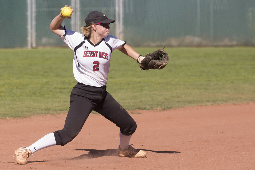 Desert Oasis senior Meagan Anders (2) throws the ball to  first base during a game against Bonanza at Desert Oasis High School on Thursday, May 4, 2017, in Las Vegas. Bridget Bennett Las Vegas Rev ...