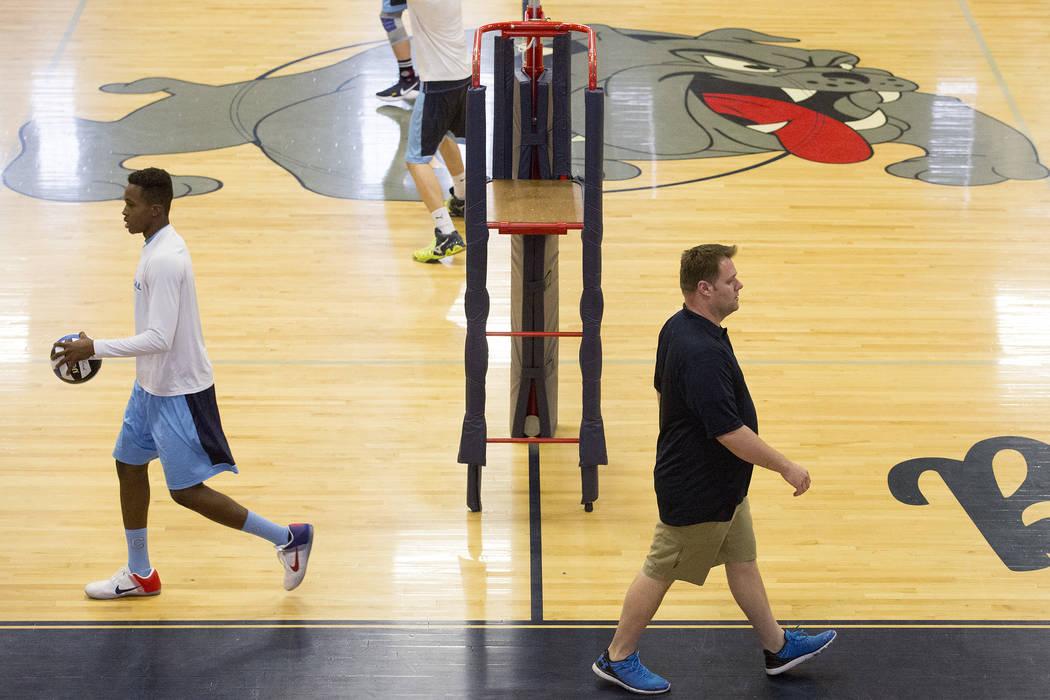 Centennial coach Erik Davis walks down the court prior to a match against Foothill at Centennial High School on Friday, May 5, 2017, in Las Vegas. Bridget Bennett Las Vegas Review-Journal @bridget ...