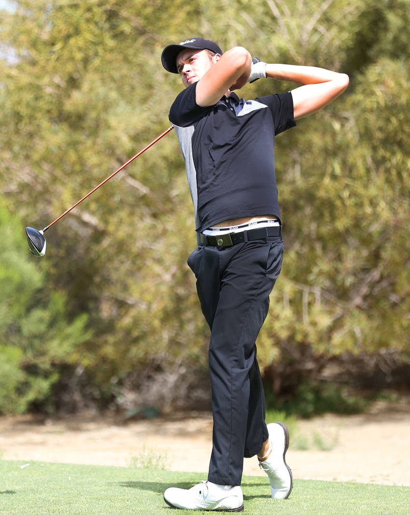 Palo Verde's Jack Trent tees off on the 16th hole during the Sunset Region boys golf tournament at the Siena Golf Club in Las Vegas, Monday, May 8, 2017. Elizabeth Brumley Las Vegas Review-Journal ...