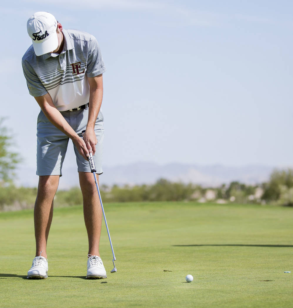 Faith Lutheran's Charlie Magruder finishes the 18th hole during Sunset Region boys golf tournament at the Siena Golf Club in Las Vegas, Monday, May 8, 2017. (AP Photo/ Elizabeth Brumley, Las Vegas ...