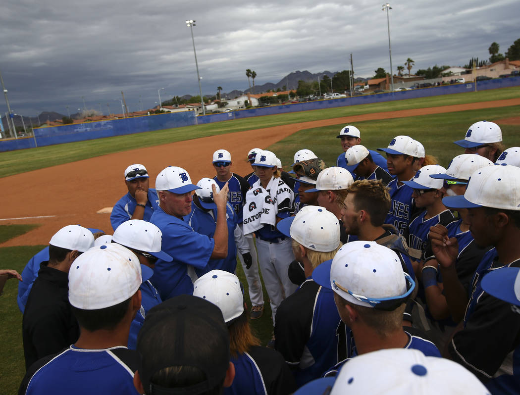 Basic's head coach Scott Baker talks with his players after defeating Silverado in their first playoff game of the season at Basic High School in Henderson on Tuesday, May 9, 2017. Chase Stevens L ...