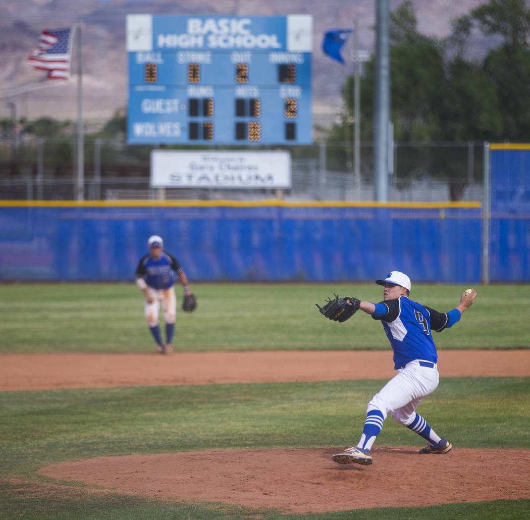 Basic's C.J. Dornak pitches to Silverado during their first playoff game of the season at Basic High School in Henderson on Tuesday, May 9, 2017. Chase Stevens Las Vegas Review-Journal @csstevensphoto