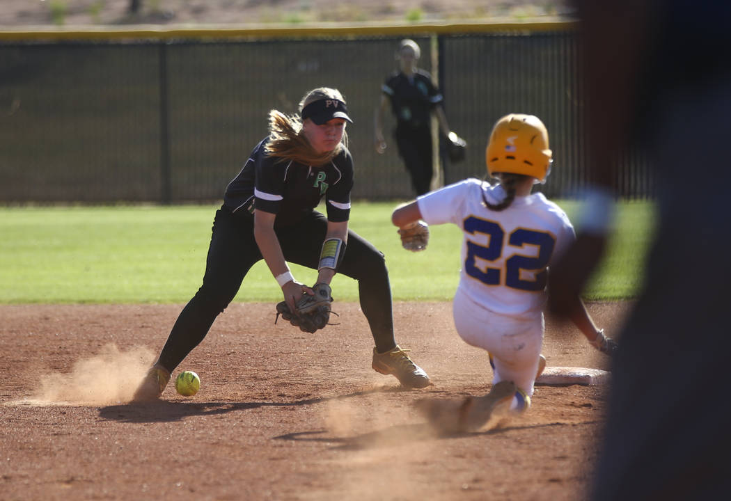 Sierra Vista's Jazmyn Martinez (22) slides into second base against Palo Verde's Ally Snelling during a Sunset Region softball tournament game at Palo Verde High School in Las Vegas on Thursday, M ...