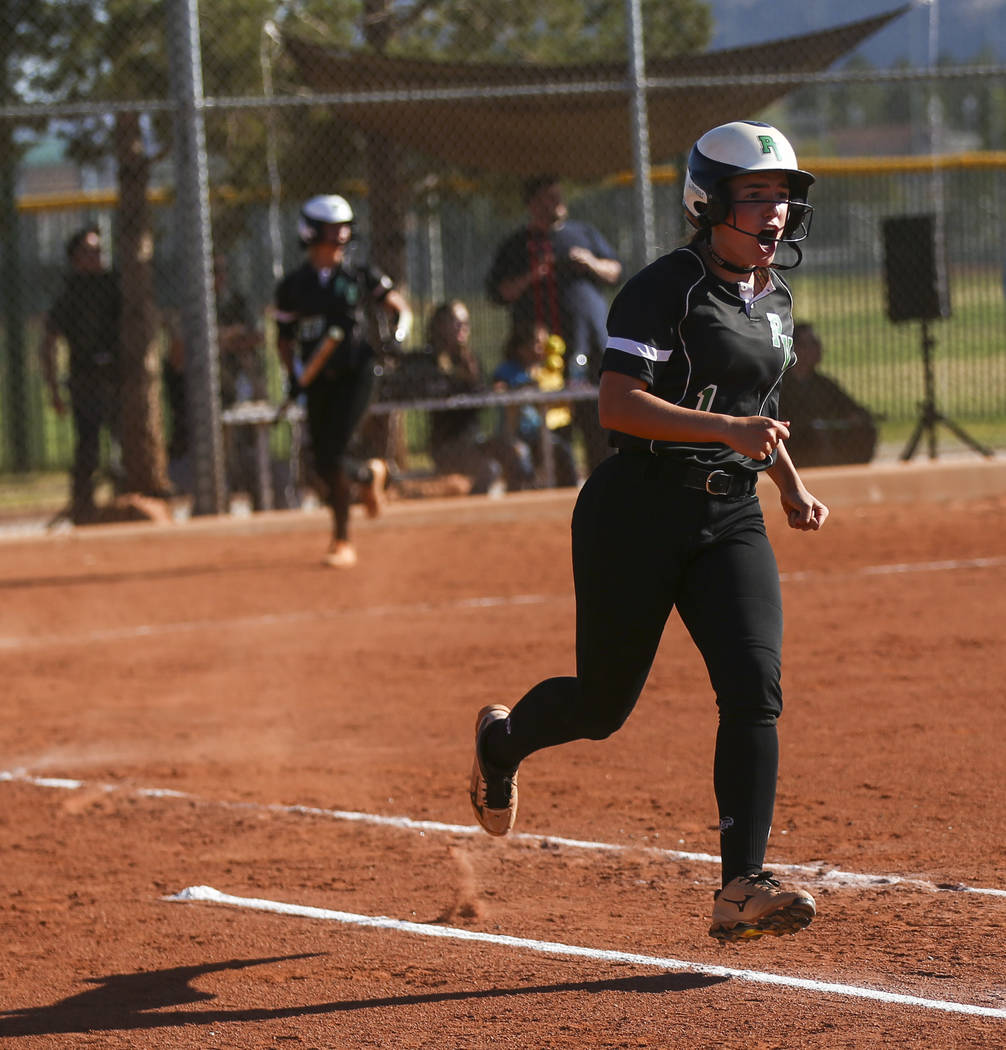 Palo Verde's Makall Whetten reacts after hitting a home run against Sierra Vista during a Sunset Region softball tournament game at Palo Verde High School in Las Vegas on Thursday, May 11, 2017. C ...
