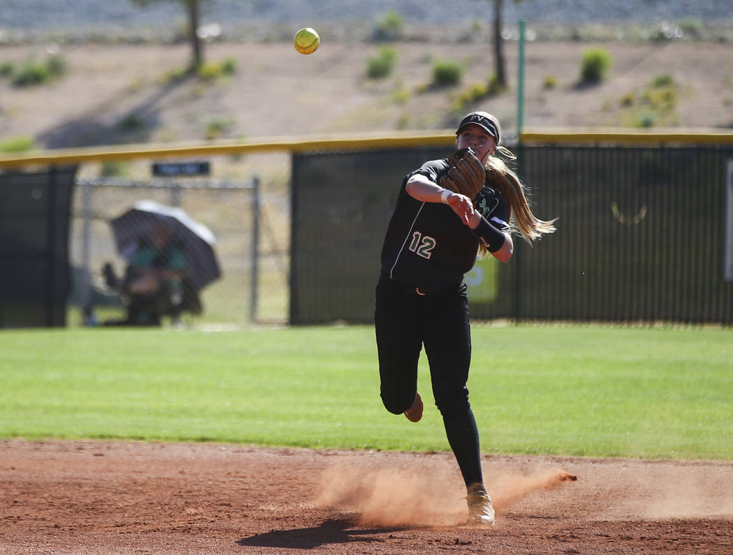 Palo Verde's Ally Snelling throws to first base during a Sunset Region softball tournament game against Sierra Vista at Palo Verde High School in Las Vegas on Thursday, May 11, 2017. Chase Stevens ...