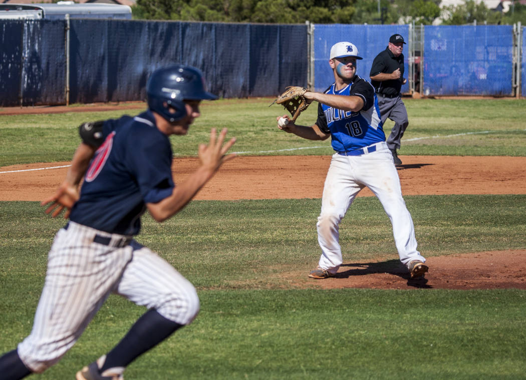 Basic's Trace Evans looks to make a play at first against Coronado at Basic High School in Henderson on Thursday, May 11, 2017. Basic won 7-3. Patrick Connolly Las Vegas Review-Journal @PConnPie
