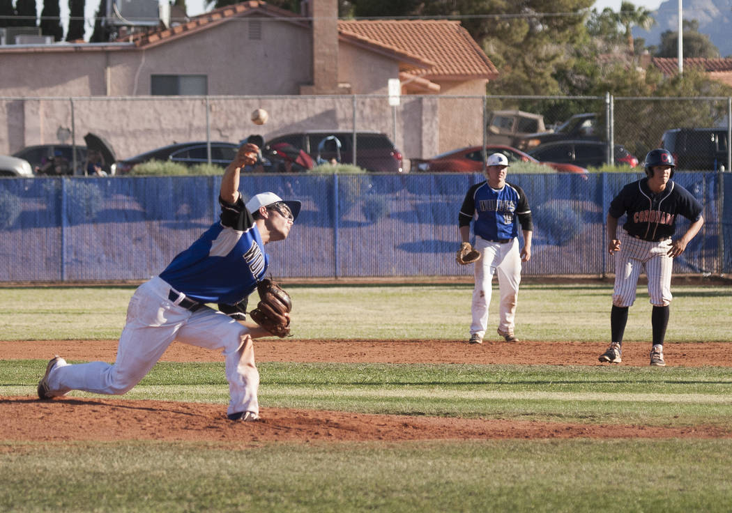 Basic's Nick Thompson pitches against Coronado at Basic High School in Henderson on Thursday, May 11, 2017. Basic won 7-3. Patrick Connolly Las Vegas Review-Journal @PConnPie