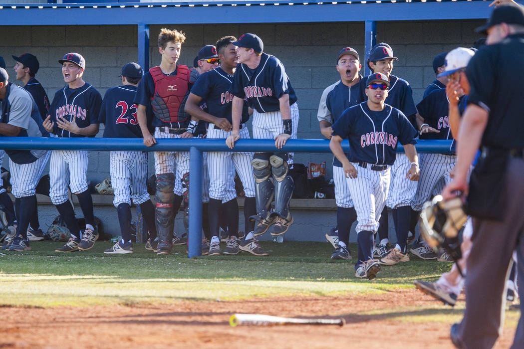 Coronado players cheer after scoring at Basic High School in Henderson on Thursday, May 11, 2017. Basic won 7-3. Patrick Connolly Las Vegas Review-Journal @PConnPie
