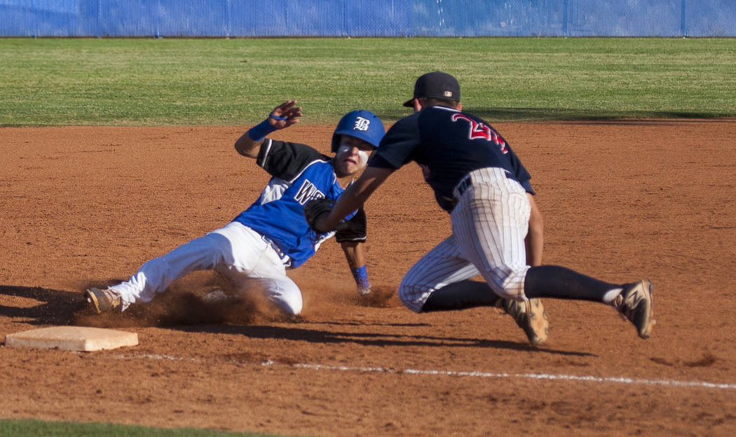 Coronado's Cristian Herrera tags out a Basic player at third at Basic High School in Henderson on Thursday, May 11, 2017. Basic won 7-3. Patrick Connolly Las Vegas Review-Journal @PConnPie