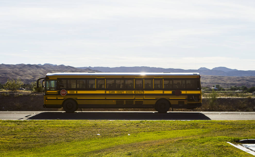 The Moapa Valley swim team is bussed back to their high school after swim practice in Mesquite, about a 40 mile drive away, on Wednesday, May 3, 2017. Chase Stevens Las Vegas Review-Journal @csste ...