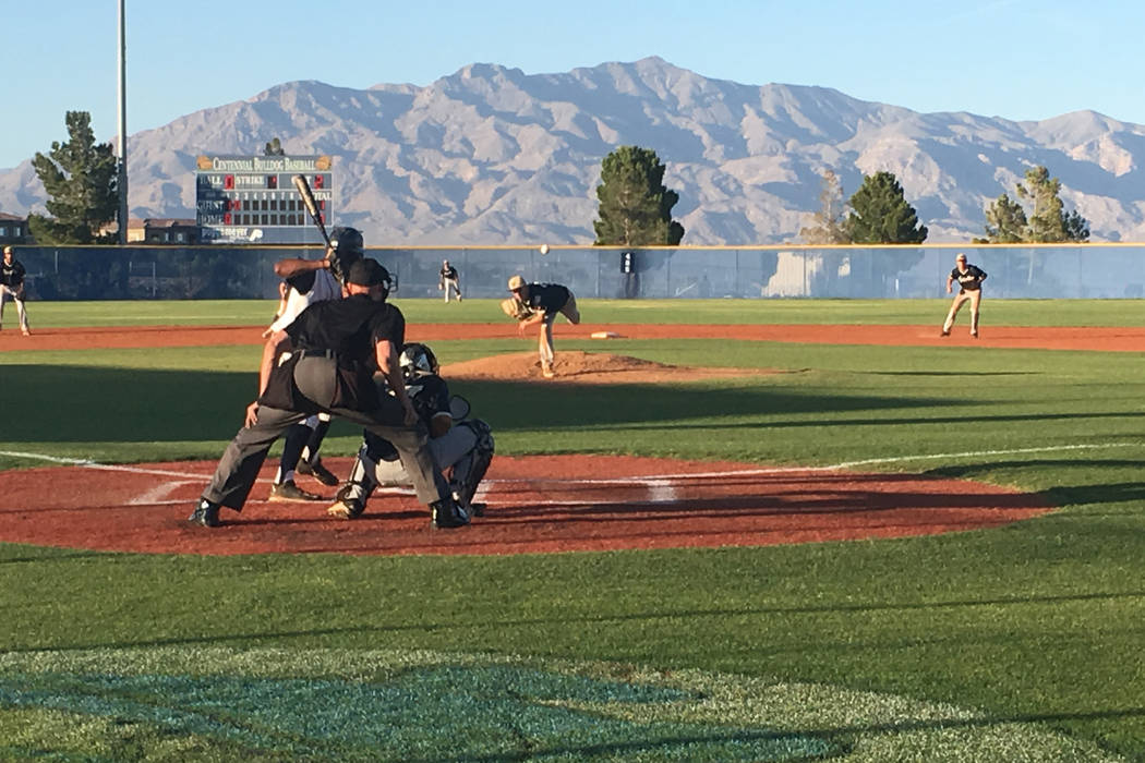 Spring Valley pitcher Braxton Bruschke pitches to Centennial's Gino Sabey in the second inning of a baseball game at Centennial High School in Las Vegas, May 12, 2017. Justin Emerson/Las Vegas Rev ...