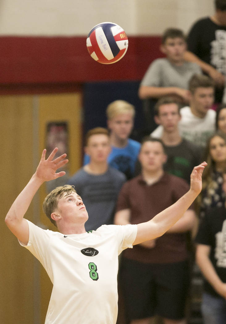Palo Verde senior Zach Nelson (8) serves the ball at Coronado High School Friday, May 12, 2017, in Henderson. Palo Verde won 3-1, making them the Sunset Region volleyball champions. Bridget Bennet ...