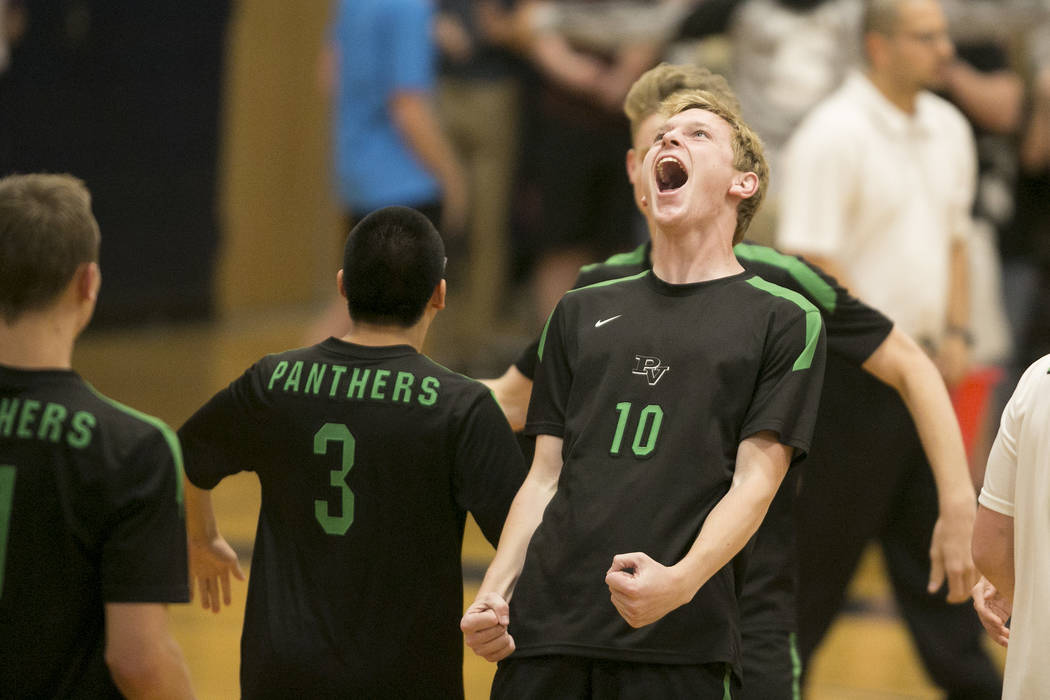 Palo Verde senior Ben Brady (10) reacts to a play during a match against Coronado for the Sunset Region volleyball finals at Coronado High School Friday, May 12, 2017, in Henderson. Palo Verde won ...
