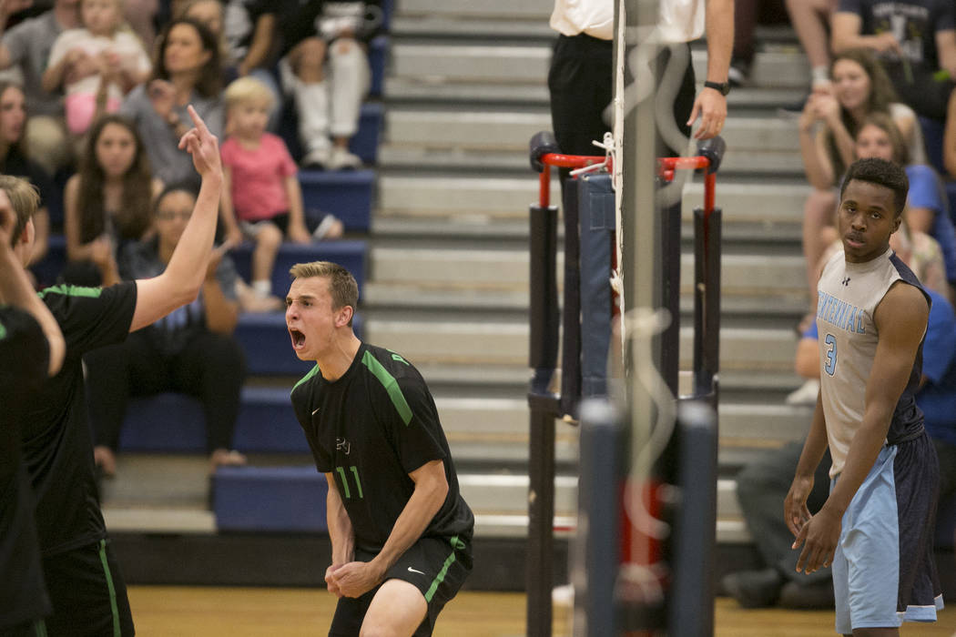Palo Verde junior Stephen Banks (11) reacts to a play during a match against Coronado for the Sunset Region volleyball finals at Coronado High School Friday, May 12, 2017, in Henderson. Palo Verde ...