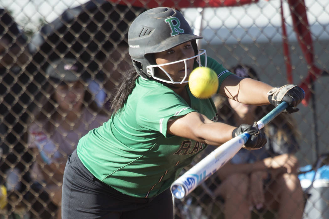 Rancho's Ayanna Potter (9) bunts the ball against Liberty at Foothill High School on Friday, May 12, 2017 in Henderson. Rancho won 3-1. Erik Verduzco Las Vegas Review-Journal @Erik_Verduzco