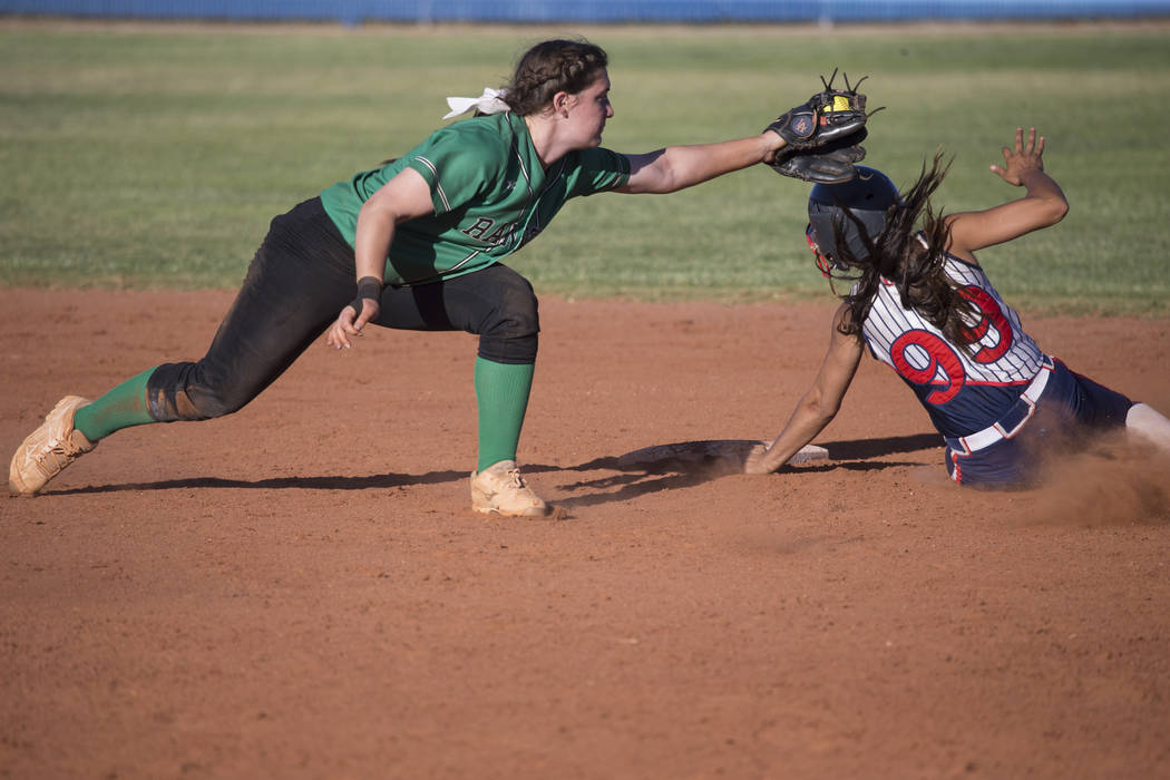 Rancho's Gianna Carosone (66) is late to tag Liberty's Jasmine Gonzalez (99) at second base at Foothill High School on Friday, May 12, 2017 in Henderson. Rancho won 3-1. Erik Verduzco Las Vegas Re ...