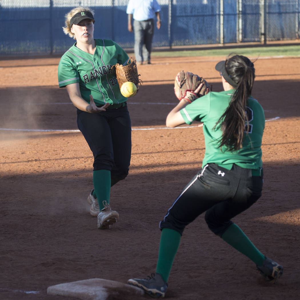Rancho's MacKenzie Perry (20) tosses the ball to Jazmin Gonzalez (2) for an out at first base against Liberty at Foothill High School on Friday, May 12, 2017 in Henderson. Rancho won 3-1. Erik Ver ...
