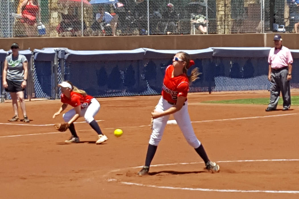 Coronado junior Tatum Spangler delivers a pitch in the first inning of the Class 4A Sunrise Region softball championship Saturday at Bishop Gorman. (David Schoen/Las Vegas Review-Journal)
