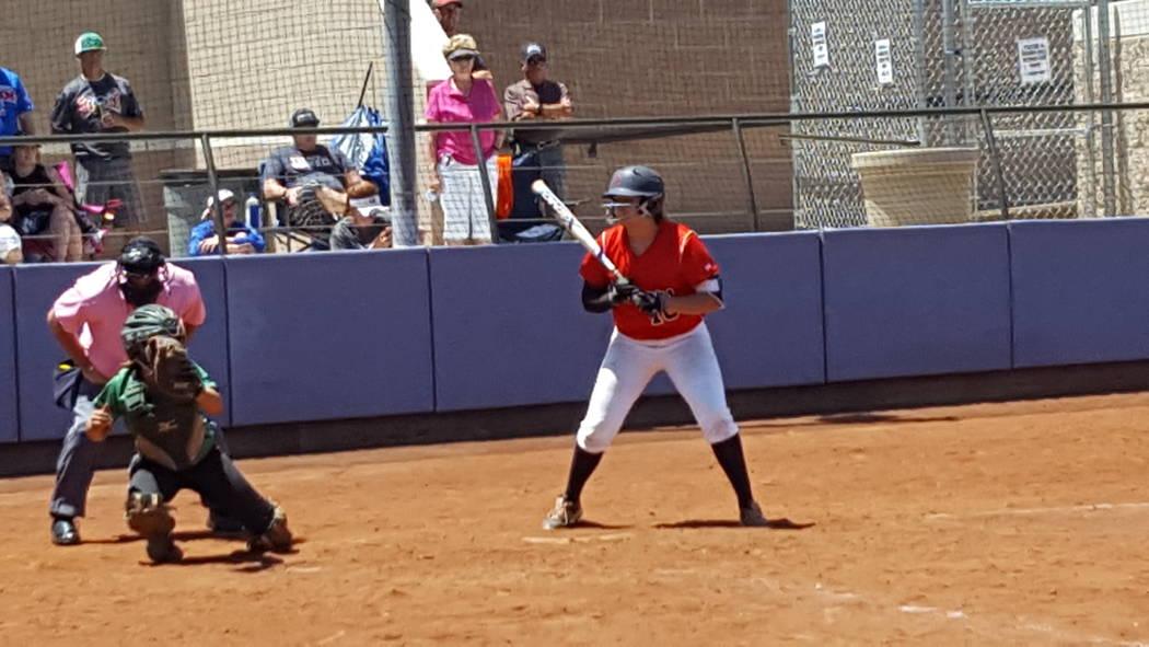 Coronado's Jillian James watches an outside pitch during the Class 4A Sunrise Region softball championship Saturday at Bishop Gorman. (David Schoen/Las Vegas Review-Journal)