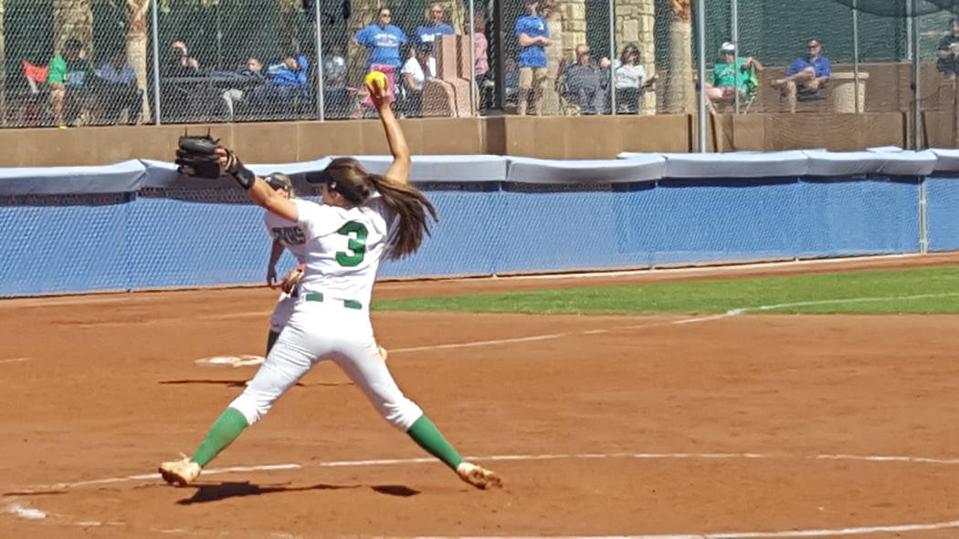 Palo Verde's Taylor Askland prepares to throw a pitch in the first inning of Class 4A Sunset Region softball championship Saturday at Bishop Gorman. (David Schoen/Las Vegas Review-Journal)