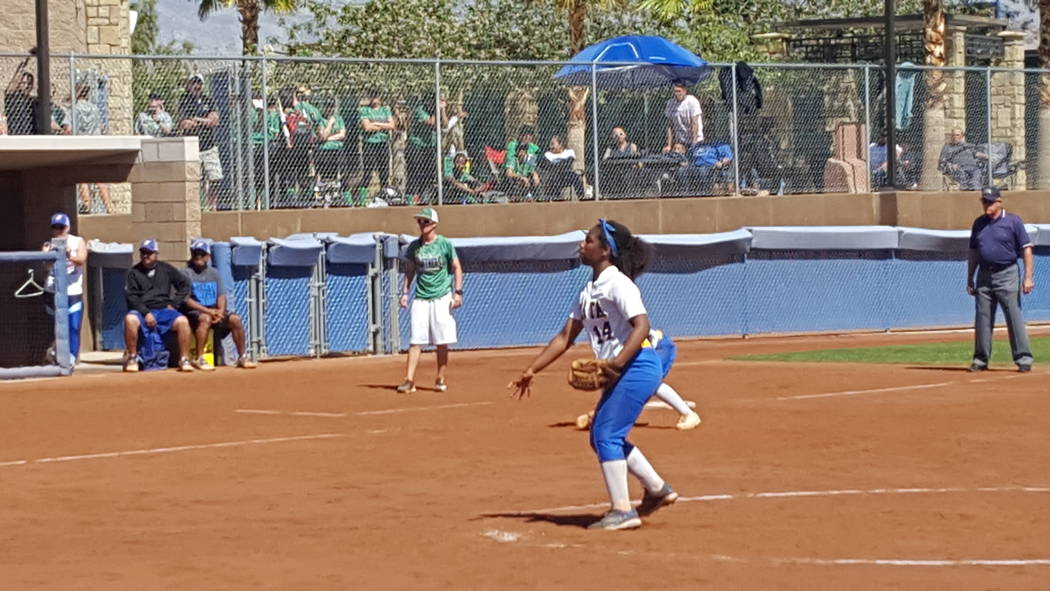 Sierra Vista's Harmony Dominguez delivers a pitch in the first inning of the Class 4A Sunset Region softball championship Saturday at Bishop Gorman. (David Schoen/Las Vegas Review-Journal)
