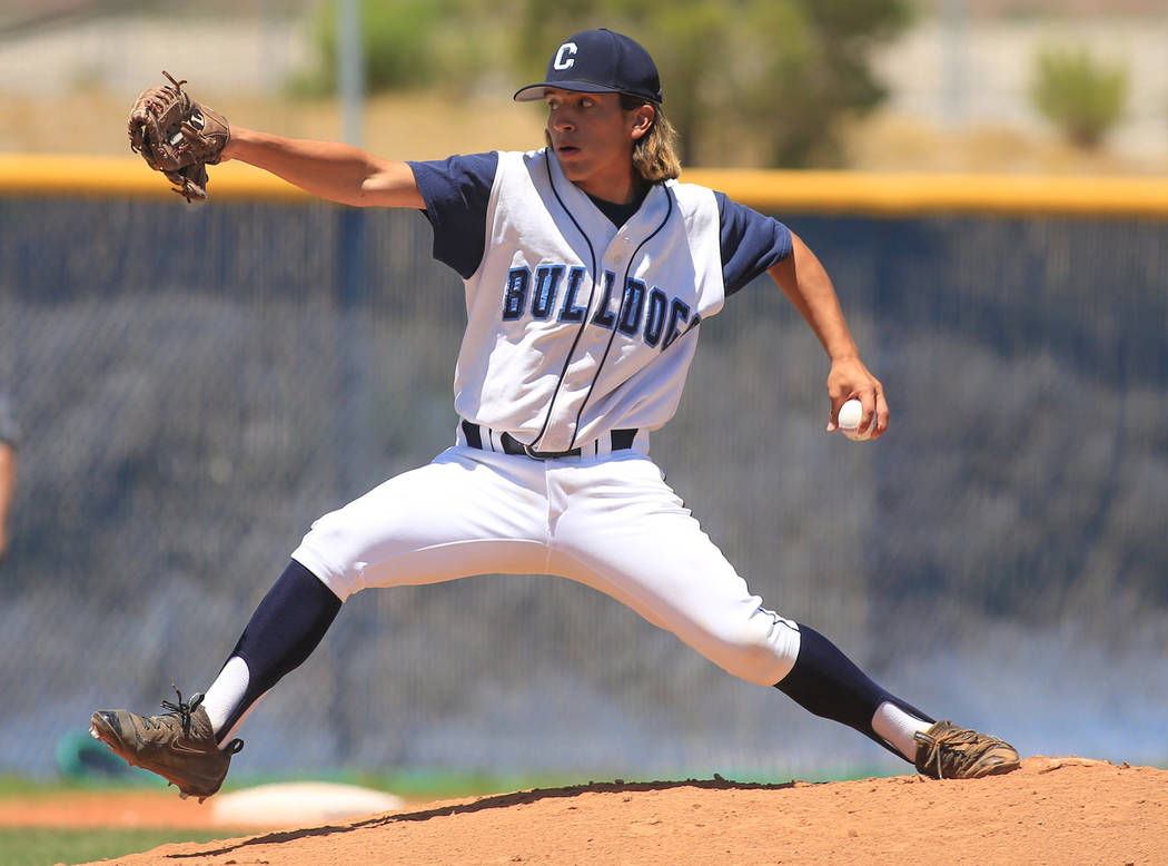 Centennial pitcher Jaden Dudek (22) throws a pitch during the Sunset Region baseball championship game between Centennial High School and Bishop Gorman High School at Centennial High School on Sat ...