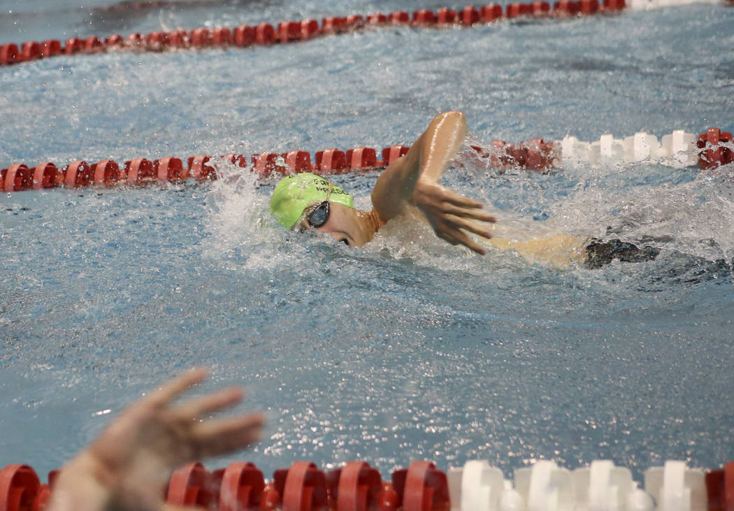 Palo Verde's Ren Prescott competes in the 500 freestyle during the Sunset Region swim tournament at Buchanan Natatorium at UNLV in Las Vegas on Saturday, May 13, 2017. Chase Stevens Las Vegas Revi ...