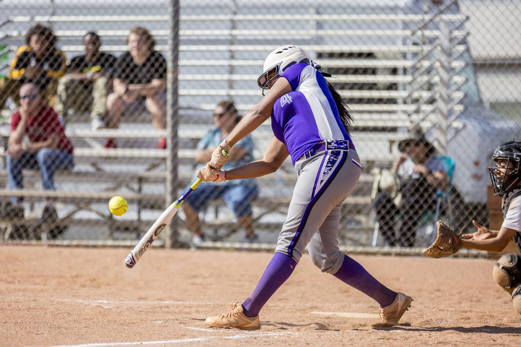 Durango's Trinity Valentine bats during a game against Clark High School at Clark High School in Las Vegas, Tuesday, April 18, 2017. Elizabeth Brumley Las Vegas Review-Journal @EliPagePhoto