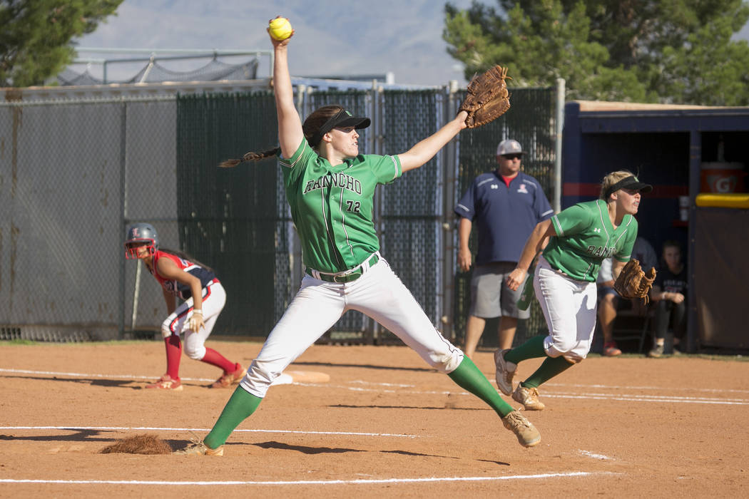 Rancho senior Sam Pochop pitches to Liberty during a Sunrise Region softball tournament game at Liberty High School on Wednesday, May 10, 2017, in Henderson. Bridget Bennett Las Vegas Review-Journ ...