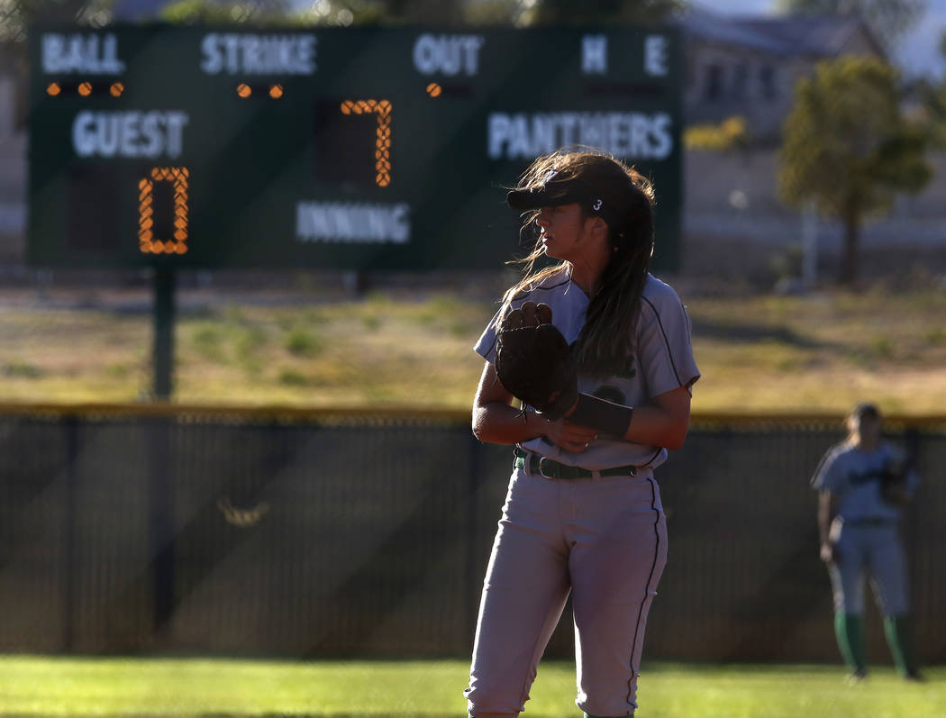 Palo Verde's Taylor Askland (3) during the seventh inning of a high school softball game against Centennial at Palo Verde High School on Monday, April 3, 2017, in Las Vegas. Palo Verde won 6-1. Ch ...